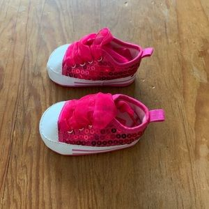 Stepping Stones Infant Sneakers Pink Sequin Ribbon